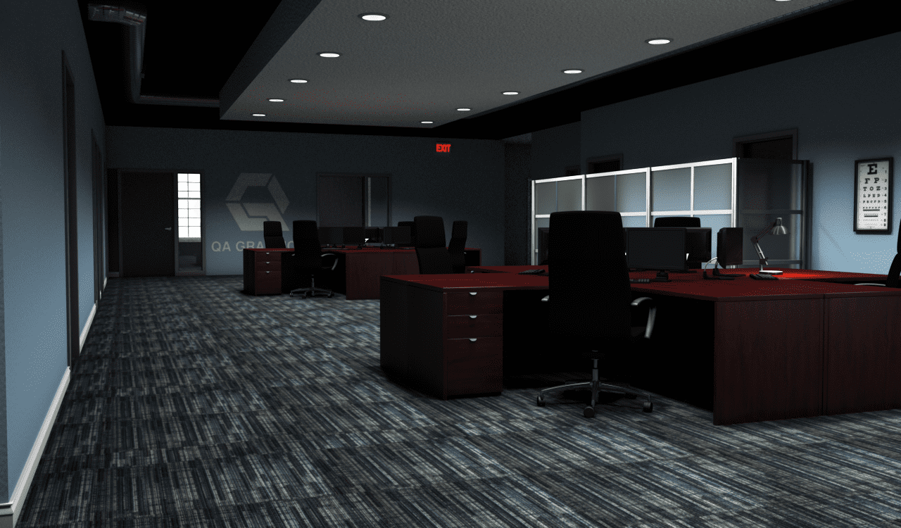 QA Graphics office 3D interior rendering