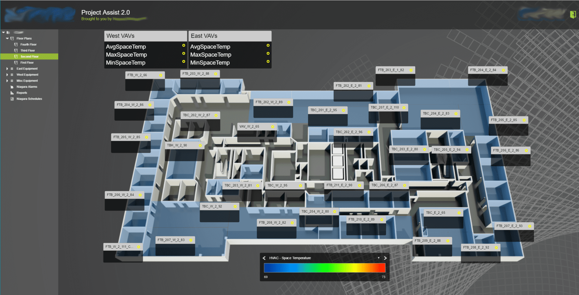 3D floor plan on building controls software
