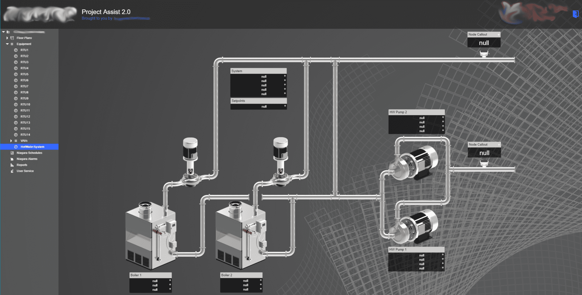 Hot water system on building controls software
