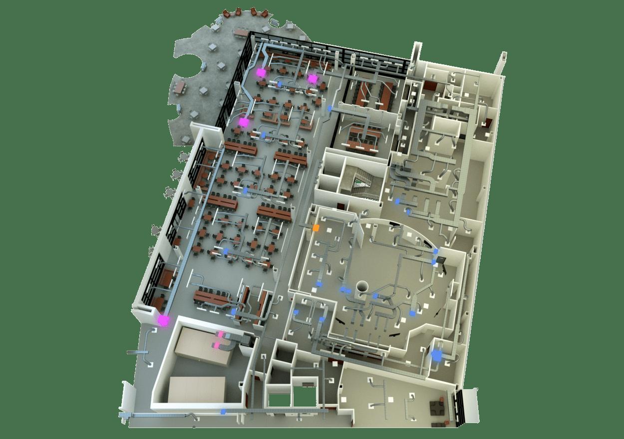 3D floor plan with HVAC