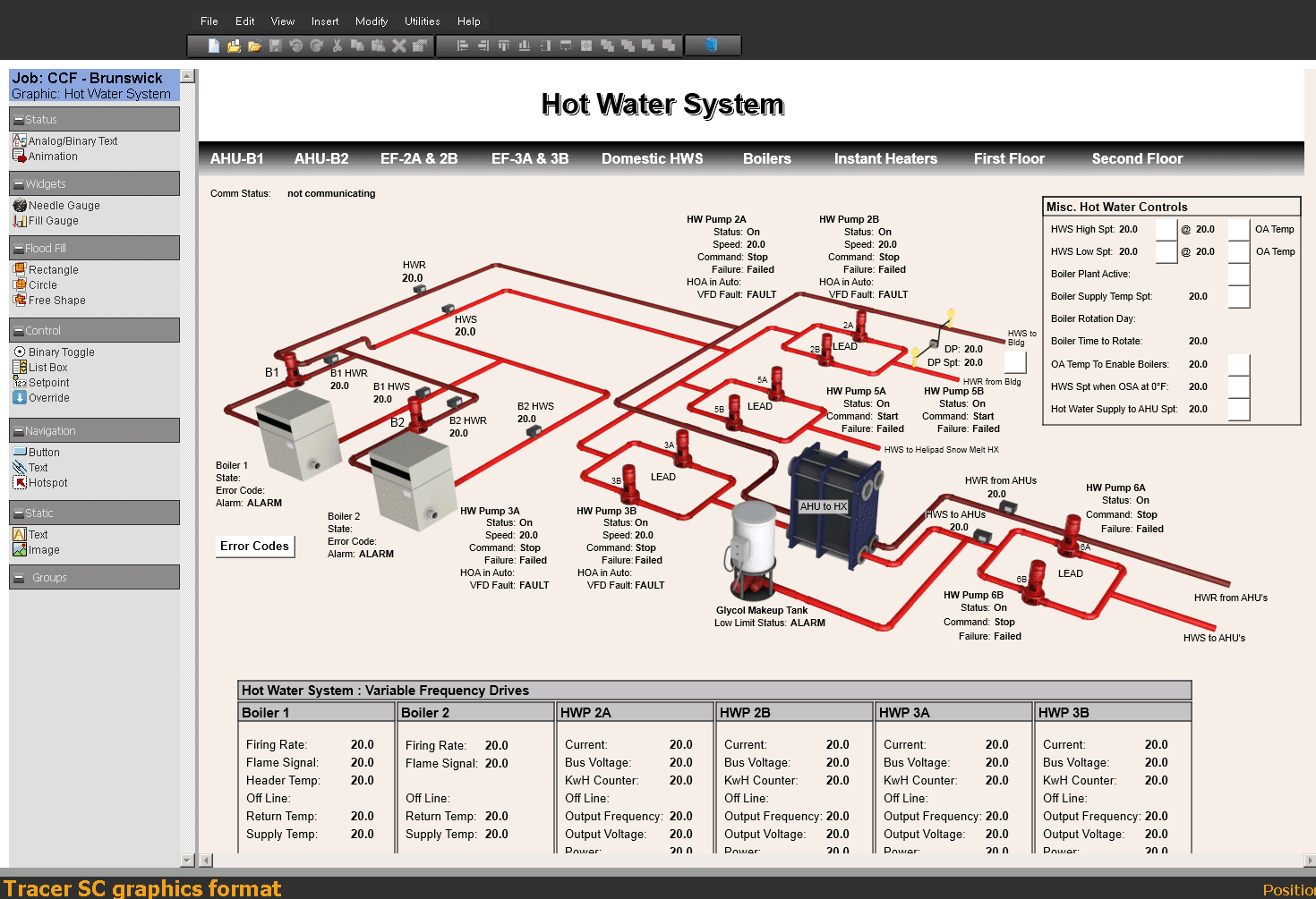 BAS Graphics showing hot water system