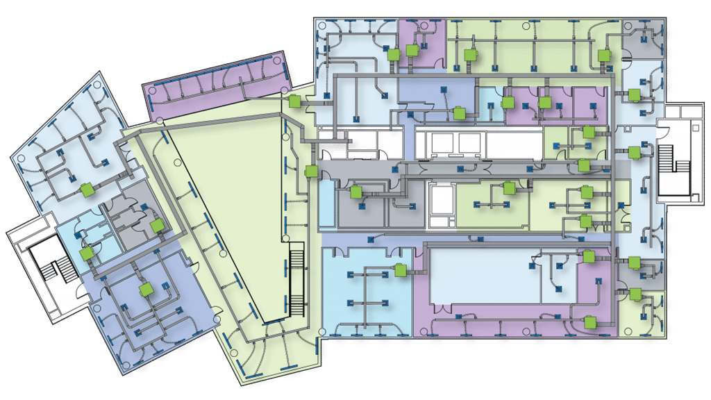 2D floorplan graphic with Air Handling Units