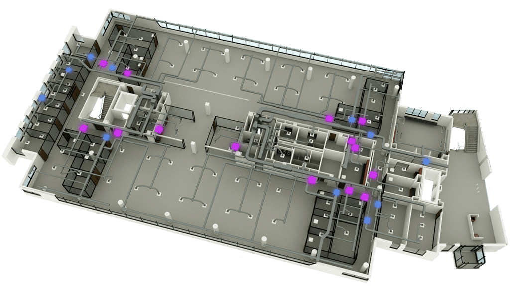3D Floor Plan graphic with air handling units