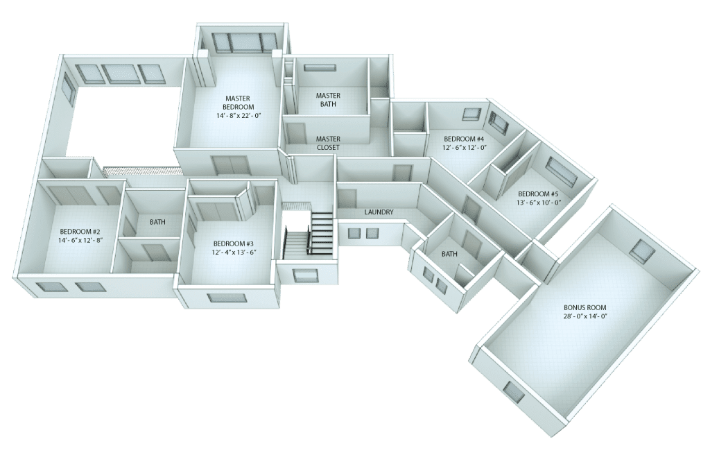 3D floor plan with room labels and dimensions
