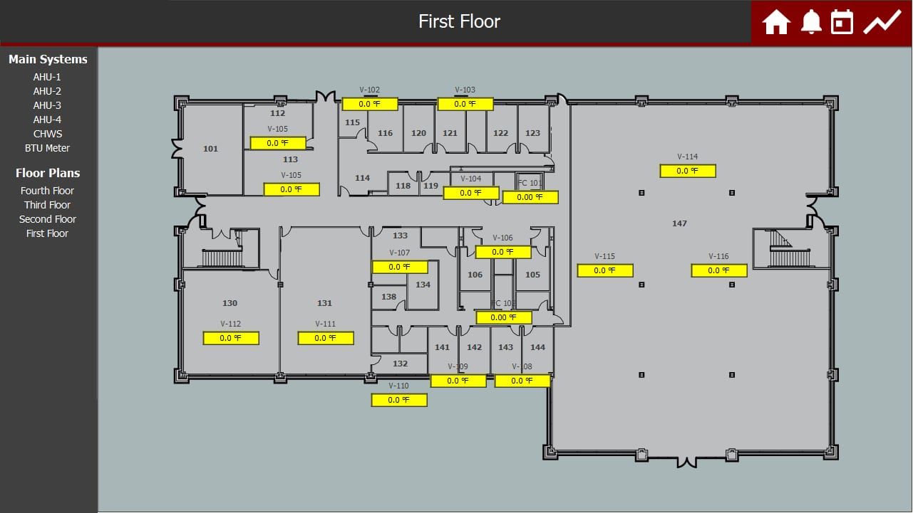 Trane N4 2D Floorplan in Building controls software
