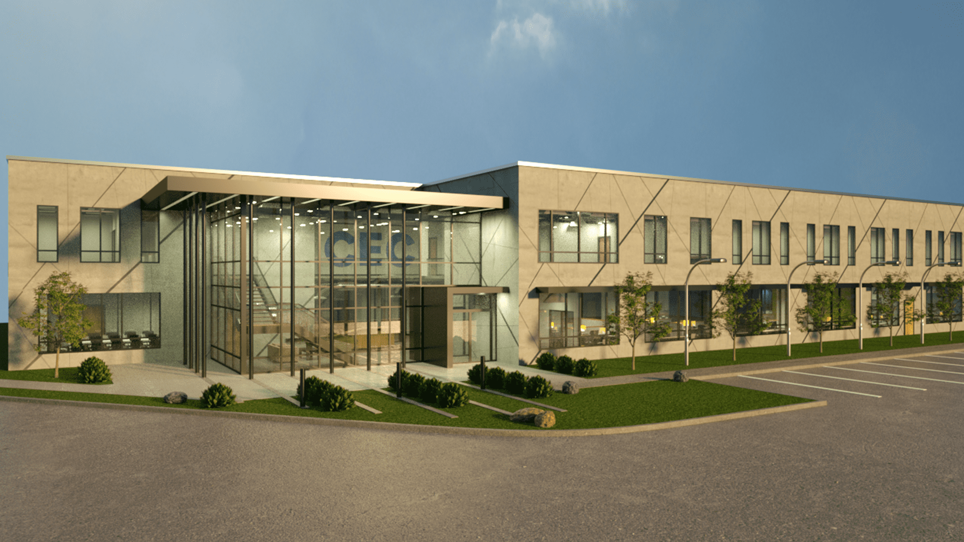 Office Headquarters Building Exterior render with big class windows in the lobby and a large parking area in front