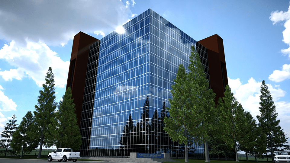 3D exterior render of a skyscraper with surrounding foliage