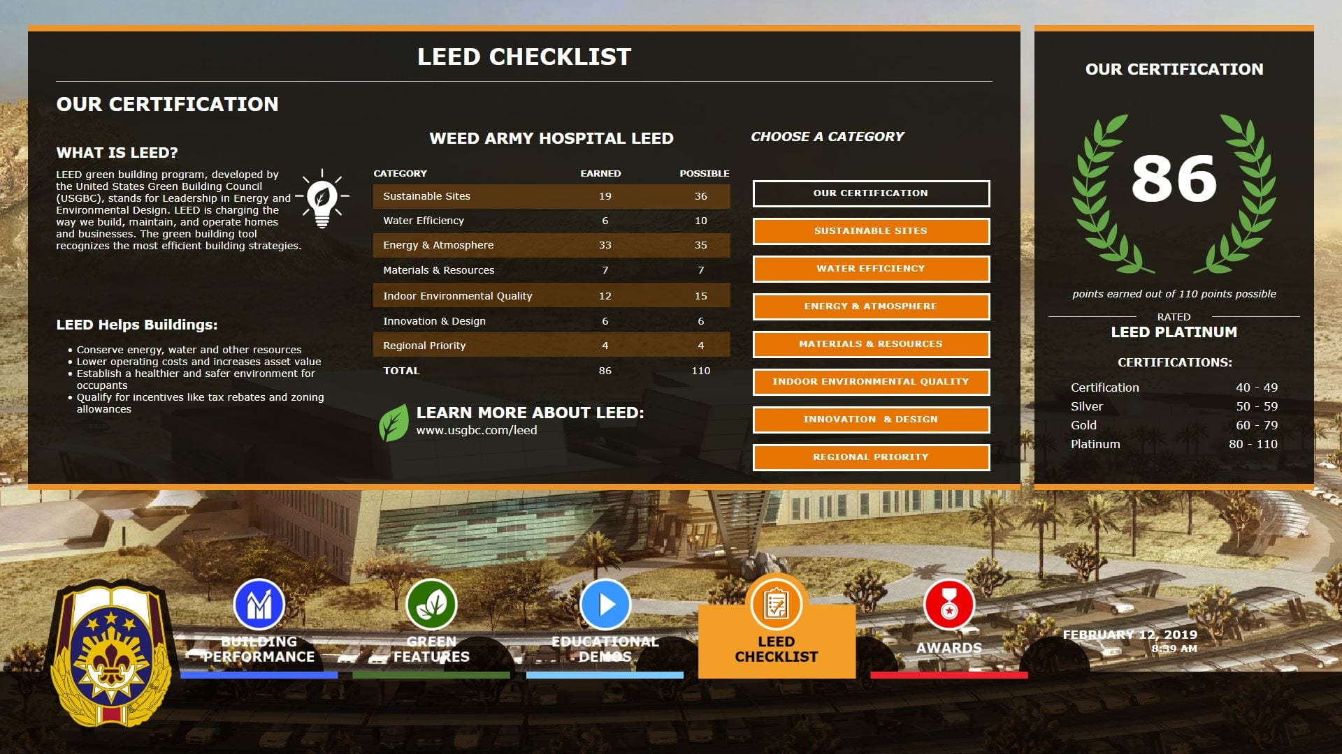 LEED Checklist for EEED v6 government