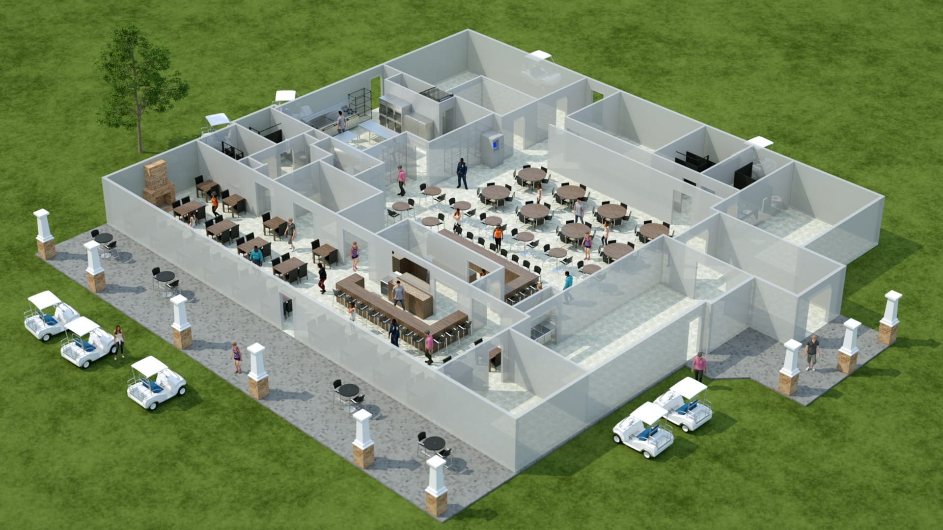 3D detailed floor plan with people and furnishings