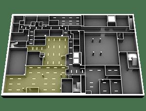 3D Floor plan, lighting efficiency example