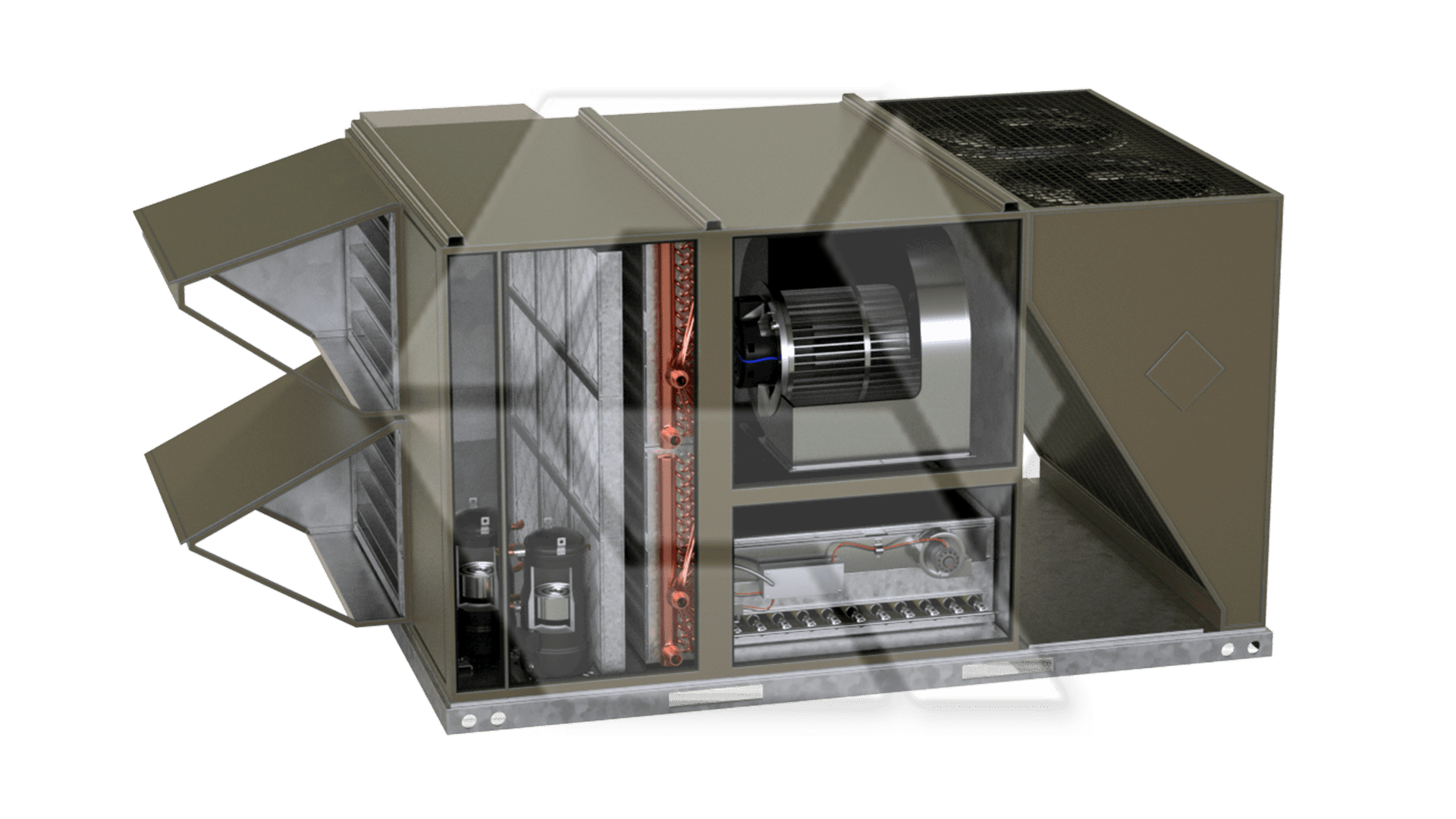 Johnson Control R-410A RTU with animations for compressors, cooling coil, dampers, fans, filter, and heating coil. (2 fans)