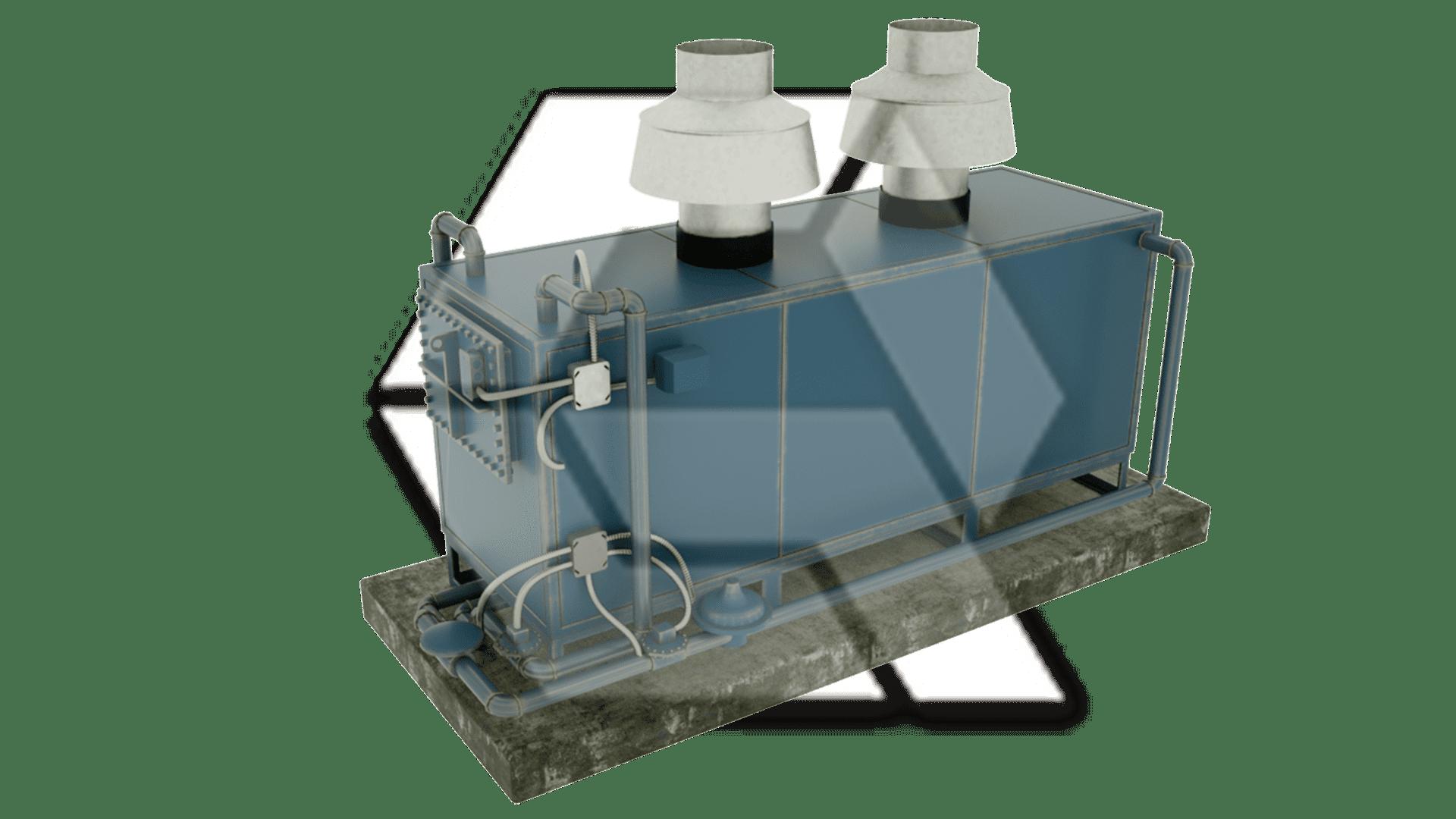 Blue Rectangular Boiler Closed